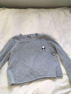 Alien crop grey jumper