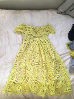 Yellow lace Ball dress