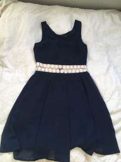 Navy dress with lace cut outs