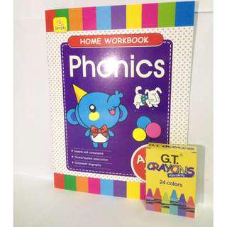 Coloring and Workbook in one (Phonics) with 24pcs Crayons