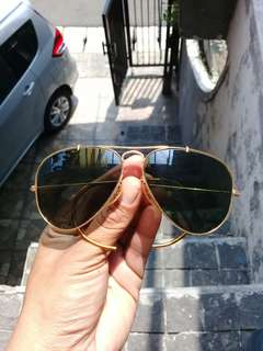 Rayban B&L Aviator Sunglasses Vintage Made in USA 58-14 Gold