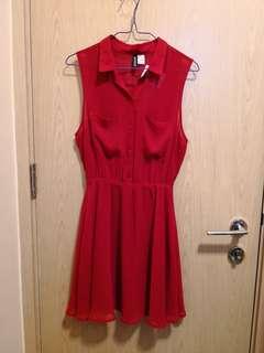 全新 H&M紅色雪紡連身裙