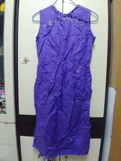 越南紫色绣花中國風連衣裙