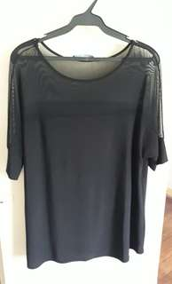 woman black top