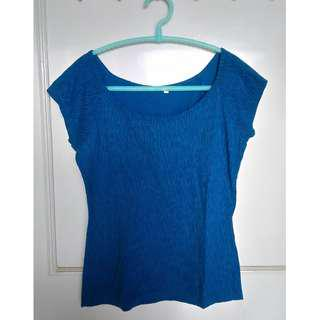 Poetry, Blue with Small Black Print Short-sleeved Top