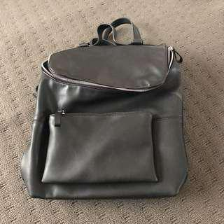 Faux Leather Backpack w/ Removable Clutch