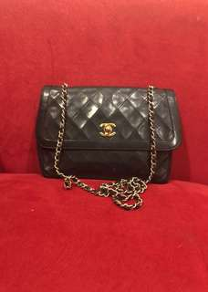 *BEST DEAL ALERT*  Chanel sling bag medium black lambskin ghw #2 with holo and replacement db