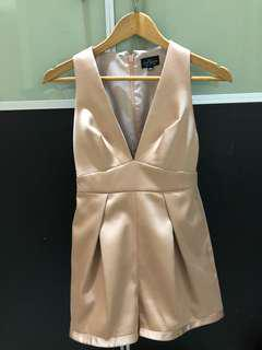 Pre loved Topshop nude satin playsuit short XS