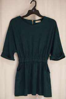 Korean Dress Wide Sleeves Emerald Green
