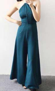 <New> Classic Halter Jumpsuit in Green