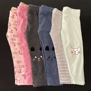 6 pairs Preloved cute size 2 baby girl printed leggings cat