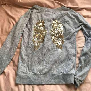 Grey Victorias Secret jumper with gold sequin wings