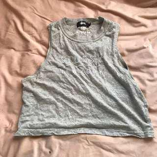 High neck grey Stussy crop top size 8