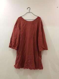 Linen rust midi dress