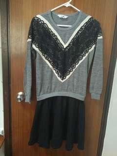 灰色+黑色冬季連身裙dress one piece