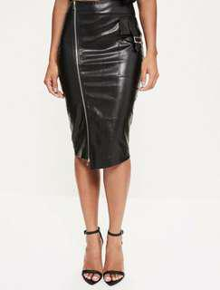 BNWT Black faux leather skirt with front zip