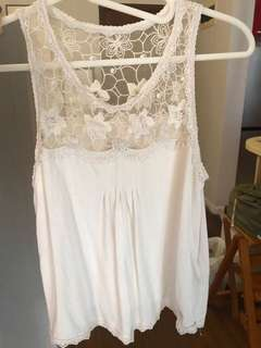 A&F純棉蕾絲白色背心上衣Abercrombie & Fitch white lace tank top AF Hollister HCO AE