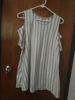 韓國露肩簡條連身裙dress