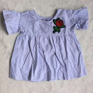 Trendy Blue Striped Top for Baby Girl