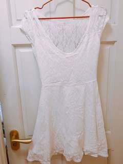 Hollister超靚白色軟蕾絲A字連身裙HCO white lace skater dress A&F Abercrombie & Fitch AF AE