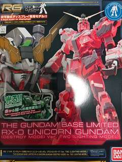 高達模型: 台場Gundam Base 限定 1/144 RG Unicorn Gundam Ver. TWC  Lighting ver.