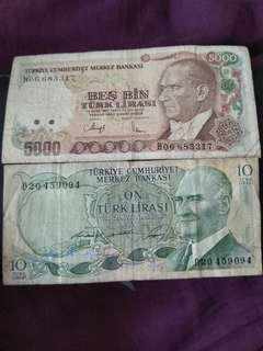 Heavy circulated turkish lira