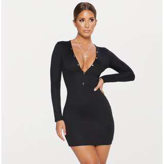 Black Ponte Button down Bodycon Dress