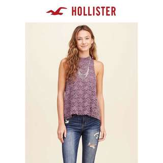 Hollister超靚罕有前粉紫立領背心上衣HCO purple lace tank top A&F Abercrombie & Fitch AF AE