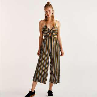 Pull & Bear Striped Culotte Jumpsuit- Small