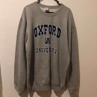 oversized vintage grey and blue oxford university london jumper sweatshirt