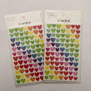 Colourful/Rainbow Heart Stickers (6 sheets)