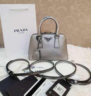 UNUSED ! PRADA 1BH851 Saffiano Lun Cromo Mini Twoway Bag ❤BIG SALE 42k only!❤ UNUSED. Stock only . Good as B-New Bought 87k With cards tag price dustbag long strap Swipe for detailed pics