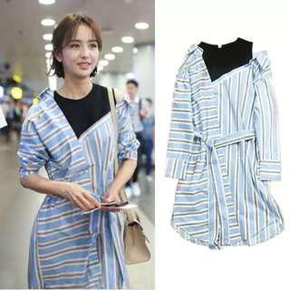Blue Stripes Dress off shoulder fake 2 pieces shirt dress collar shirt stylish #mcsfashion