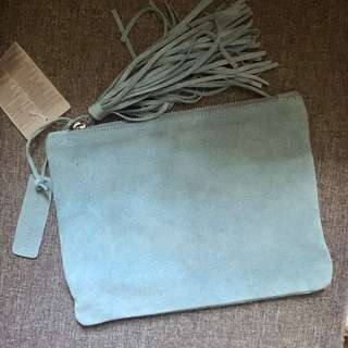 ZARA baby blue real leather bag