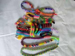 Loom band bracelets and necklaces