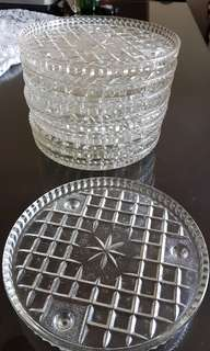 Vintage glass cake stands with legs