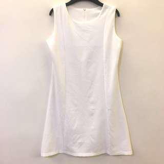 🚚 白色 無袖 簡約氣質洋裝