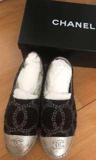 Chanel espadrilles Shoes black sliver size 39