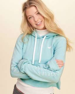 Hollister短款連帽毛圈衛衣長袖衞衣HCO Tiffany blue hoodie A&F Abercrombie & Fitch AF AE