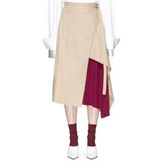 FFIXXED STUDIOS 卡其色 不規則 百褶裙 Pleated Panel Skirt