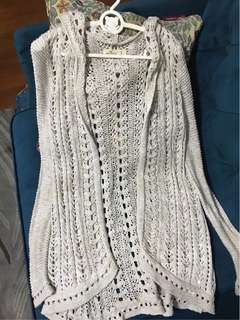 Hollister灰色針織外套冷衫披肩開衫HCO gray jacket sweater A&F Abercrombie & Fitch AF AE