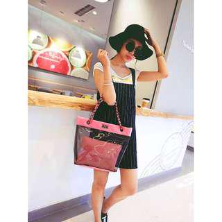 Tote 2in1 pvc bag in pink (bag + pouch)