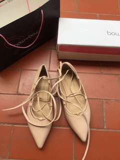 Bow-bow balerina shoes