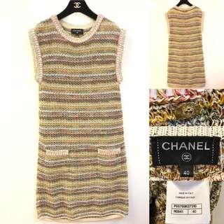斯文裙 Chanel colors knit dress size 40