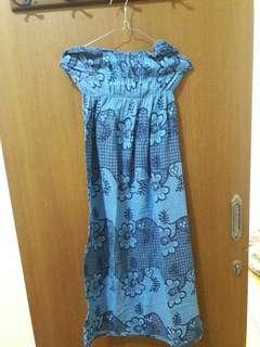 Preloved Midi Dress Biru Kemben Fit to L Mat Katun