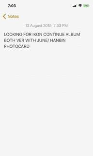 LOOKING FOR WTB IKON NEW KIDS CONTINUE ALBUM