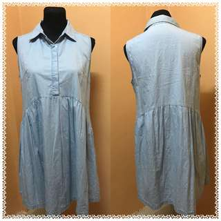 Light blue collared sleeveless casual / office dress