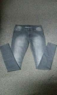 L-XXL Gray Faded Skinny Jeans