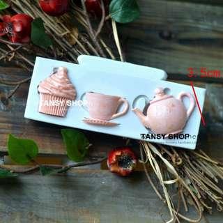 【TANSY SHOP】翻糖模具滿三件打八折! 其他 下午茶組 茶壺 咖啡杯 點心 硅膠 矽膠模具 翻糖DIY烘焙工具