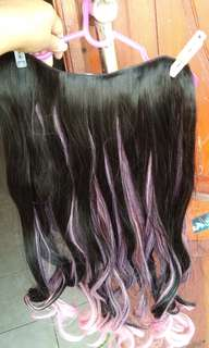 Hairclip  biglayer ombre curly black baby pink